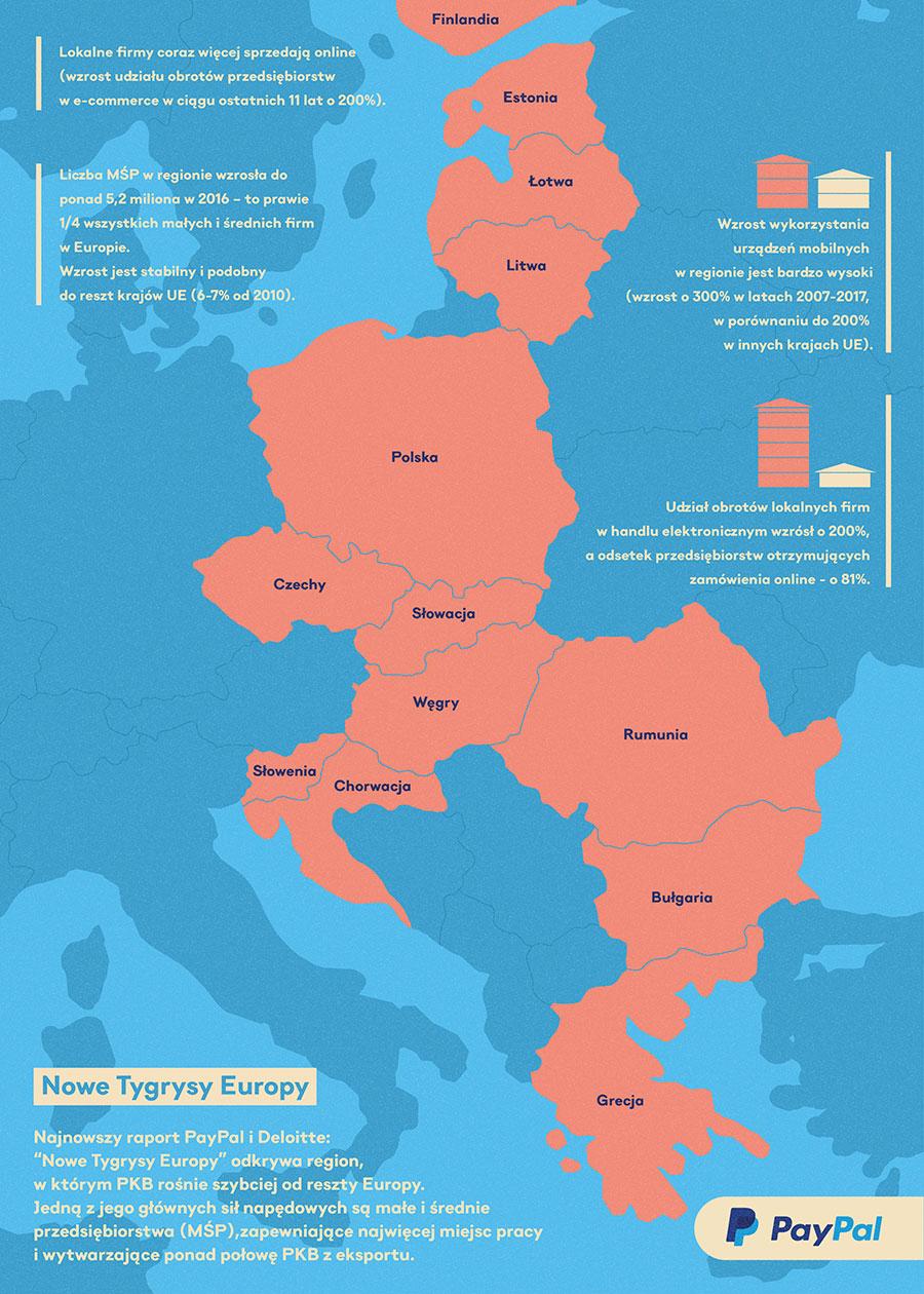 Mapa przedstawiająca część Europy na fragmencie infografiki kreującej wizerunek firmy PayPal