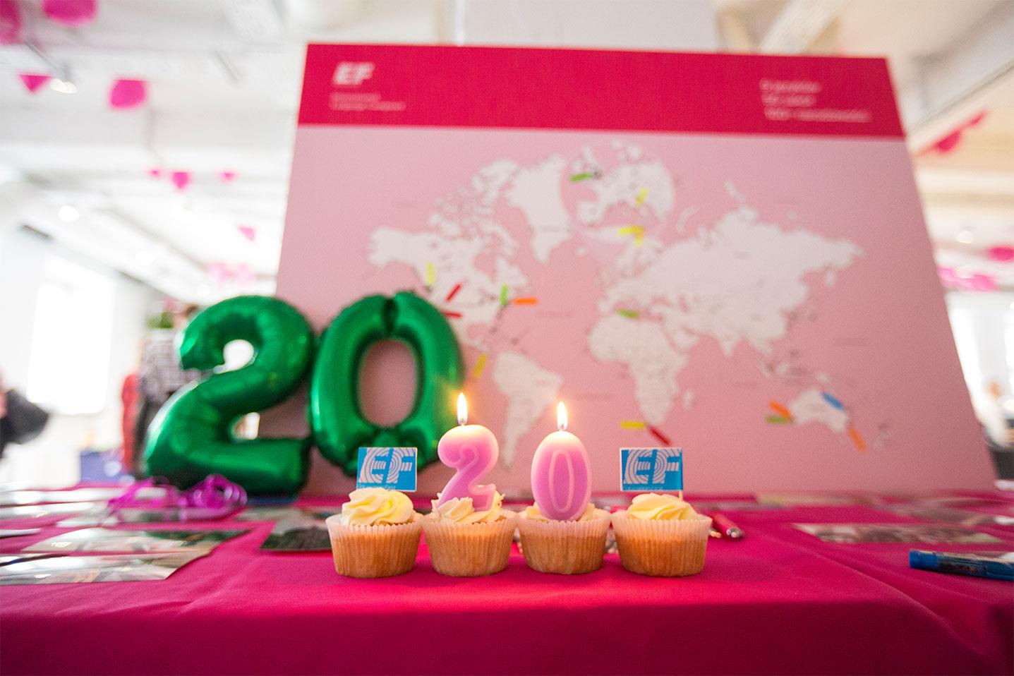 Urodzinowe świeczki zapalone z okazji 20-lecia firmy podczas eventu wzmacniającego kreowanie wizerunku marki
