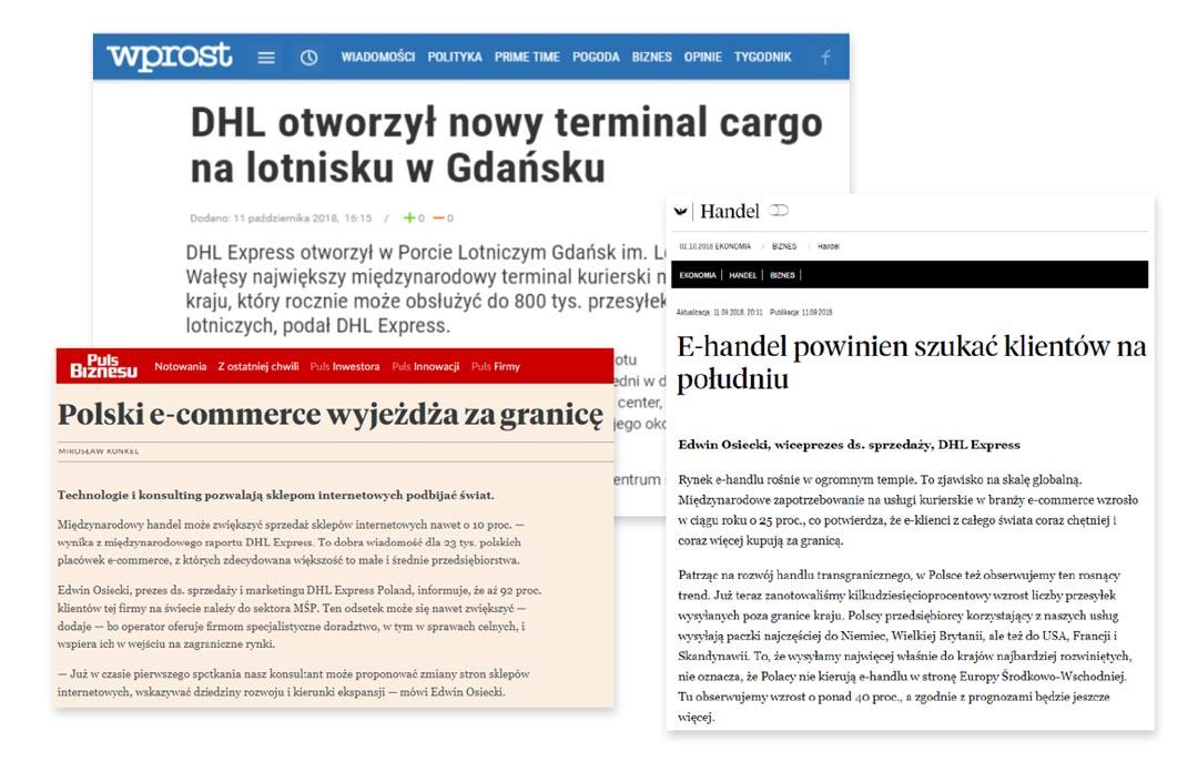 newsy z kilku portali w różnych językach na temat otwarcia noego terminalu cargo przez DHL | CLue PR